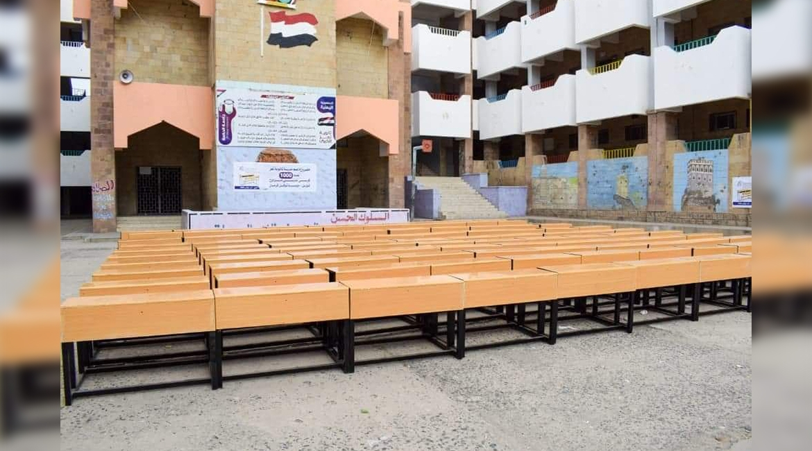 TKF delivers 500 double seats to Taiz Al-Kubra High School