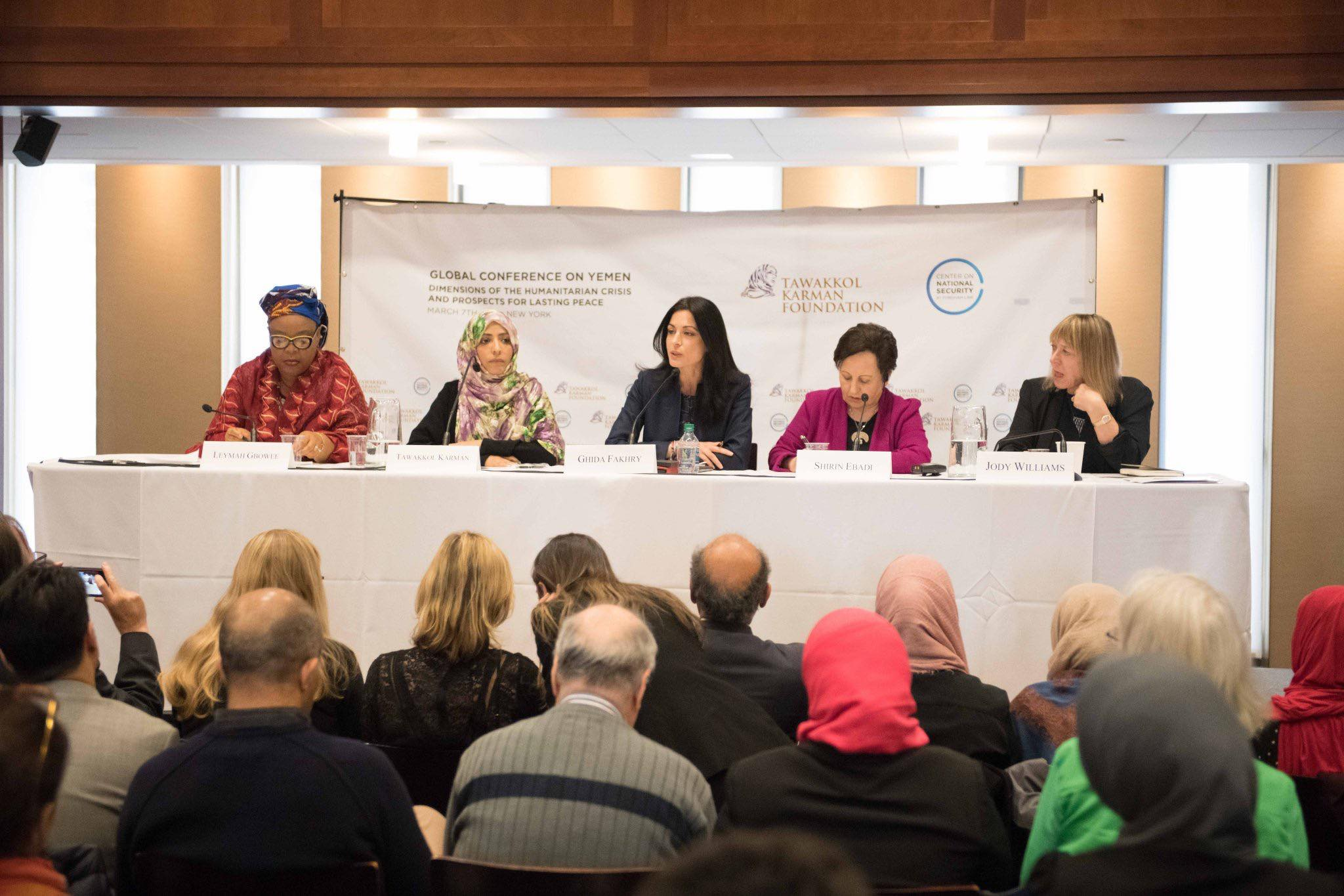 4 women nobel laureate in Tawakkol Karman Foundation conference